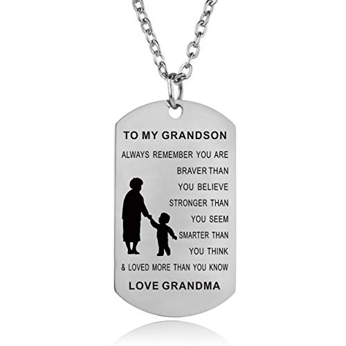 Always Remember You are Braver Than You Believe Grandma to Grandson Necklace Inspirational Gifts