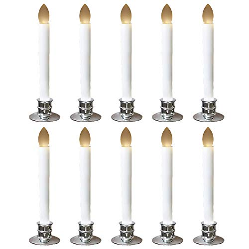 Set of 10 Window Candles Battery Operated LED Candle Lamps, Flickering Flameless Candle Lights with Remote Timers for Christmas Decorations
