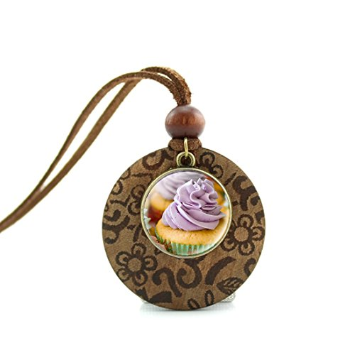 Ice Pastry (MUSEDAY Adjustable Leather Cord Necklace Handmade Ice Pastry Cupcake Pendants Ethnic Round Wooden Pendant for Women)