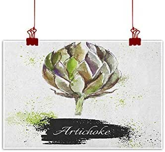 warmfamily Wall Art Painting Print Artichoke,Fresh and Green Artichokes Hand Drawn Nature Agriculture Harvest Artwork Print, Fern Green Home Decorations Modern Stretched and Artwork