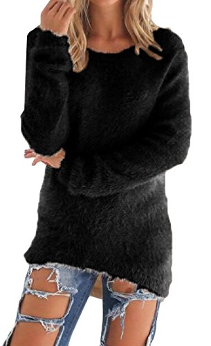 Abetteric Women's Stylish Pure Color Long Sleeve Pullover Tops Sweater