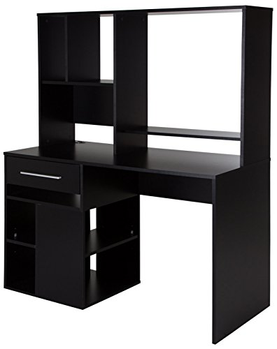(South Shore 9044070 Narrow Home Office Computer Desk with Hutch, Pure Black)