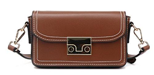 Haoxiaozi Women Casual Messenger Fashion Square Shoulder Brown Bag qCqRAxU