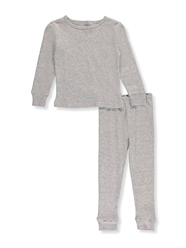 Ice2O Little Girls' Toddler 2-Piece Thermal Long Underwear Set - Gray, (2 Piece Waffle Thermal Underwear)