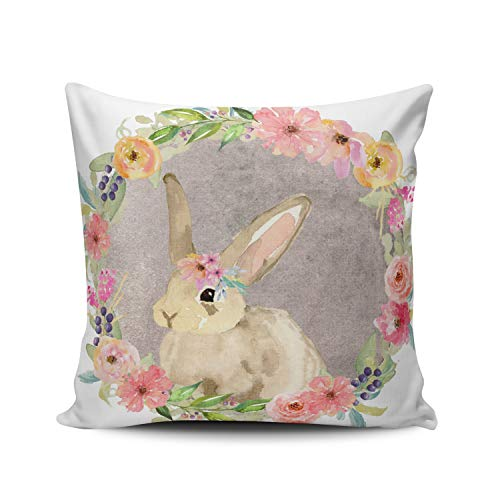 (XIUBA Throw Pillow Covers Case Colorful Boho Woodland Bunny Rabbit Baby Nursery Decorative Pillowcase Cushion Cover 16X16 inch Square Size Double Sided Design Printed)
