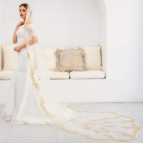 Barogirl Wedding Veil Lace White Bridal Cathedral Veil 1 Tier Embroidery Drop Veil Long for Brides, 118 Inches (Champagne) ()