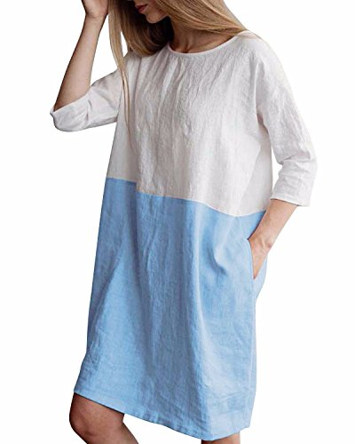 (HIUPEB Women's Plus Size 3/4 Sleeve Loose Cotton Linen Top Shirt Dress Light Blue L )