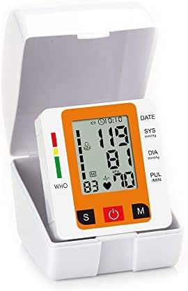 Bishelle-health Large Cuff Smart Digital Wrist Style Blood Pressure Monitor BP Heart Beat Rate Pulse Meter Machine LCD Automatic Memory Data Saving for Traveling,2 Pack (Color : Orange, Speaker : N)