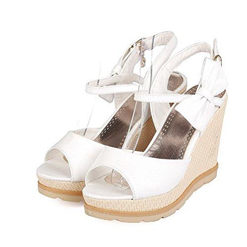 Sandalias Blanco Sólidas De Toe De AllhqFashion Mujer Suave Sólido Metal Peep De Para Material De r4qwrn6Ud