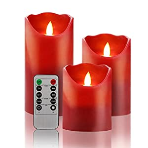 Flameless LED 4/5/6-Inch Drip-less Wax Pillar Candles - Real Wax & Real Flickering Candle Motion - with Remote 24-hour Timer Function ,Burgundy color,set of 3 15