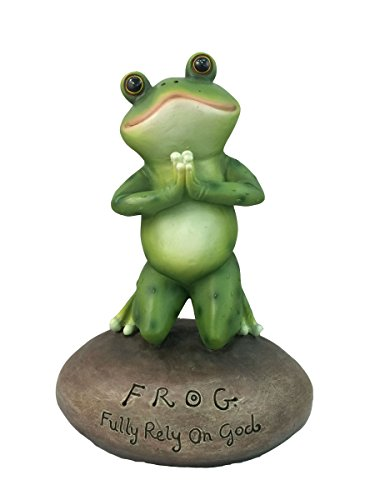 Frog Figurine - Inspirational Cute Praying Frog On Rock Statue By DWK | Novelty Collectible Frog Figurine