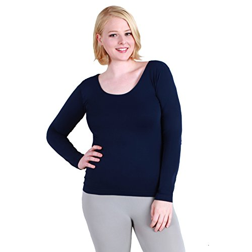 Nikibiki Plus Size Scoop Neck Long Sleeve Top Amazing Fit 92% Nylon and 8% Spandex (Navy) -