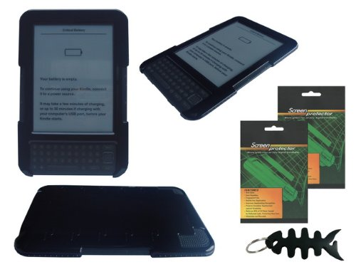 iShoppingdeals - Black Snap-On Hard Shell Case Cover and Anti Glare Matte Screen Protector for Amazon Kindle 3 3rd Generation - 3g Keyboard Wifi Kindle
