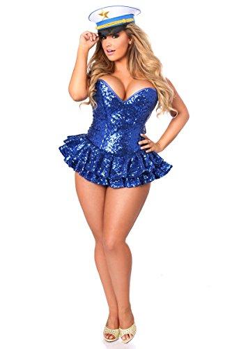 Daisy Corsets Women's Plus Size Top Drawer Premium Sequin Sailor Corset Dress Costume, Blue, 6X ()