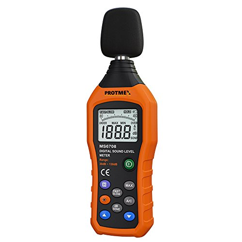 Protmex Decibel Meter/Sound Level Reader, MS6708 Portable Digital Sound Level Meter Reader, Measurement Range 30-130 dBA, Accuracy 1.5dB, Noise Meter with Large LCD Screen Display Fast/Slow Selection