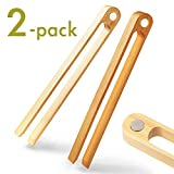 Magnetic Bamboo Toaster Tongs: 100% Natural 8.7' Wood Kitchen Toast Tongs| Eco-Friendly, Space Saving Modern Kitchen Accessory for Home Restaurant | Set of 2