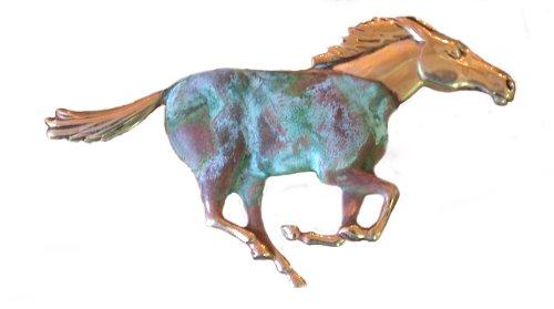 Elaine Coyne Verdigris Patina Solid Brass Galloping Horse Pin
