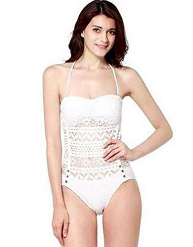 CeRui Traje de Baño de Una Pieza Ropa Mujer Bañador Halter Playa Bikini Tankini Blanco