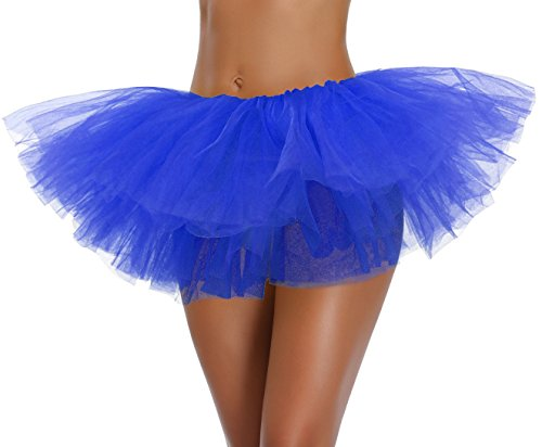 Women's, Teen, Adult Classic Elastic 3, 4, 5 Layered Tulle Tutu Skirt (One Size, Blue 5Layer)]()