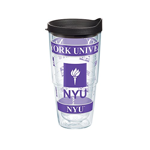 Tervis 1045693 New York University Wrap Individual Tumbler With Black Lid  24 Oz  Clear