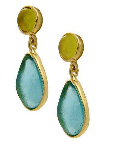 Sea Glass Bezel - Cast Artisan Glass & Gold-Plated Oval Drop Post Earrings - Teal and Lime Green, American Made