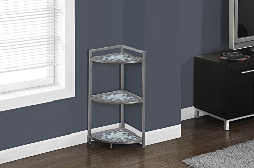 Review Monarch Specialties Grey/Blue Tile Top/Hammered Silver Corner Etagere, 30-Inch By Monarch Specialties by Monarch Specialties