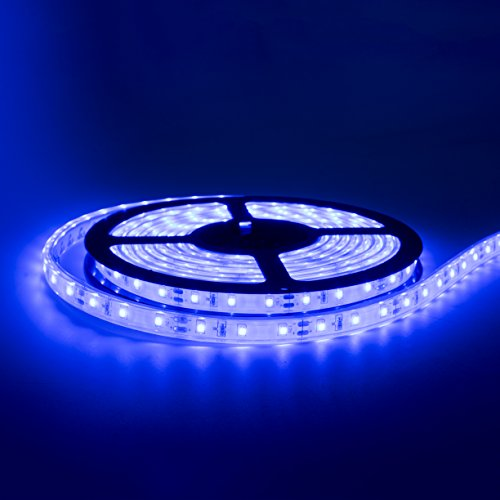 20' Blue LED Strip Light w/White Backing | IP68 Waterproof Rating | Boat (Marine) LED Strip Light | Automobile LED Strip Light | Motorcycle LED Strip Light | Indoor/Outdoor LED Strip Light