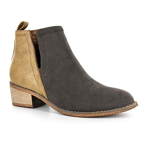 Corkys Footwear Womens Ladies Shield Black/Leopard Bootie Taupe/Grey