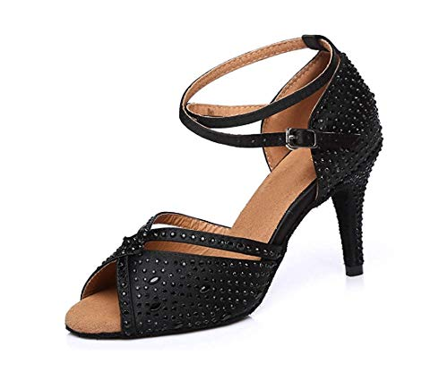 El Peep Tango Qiusa Tamaño Salón Unido Toe Tobillo Mujeres Con Las Correa Sandalias Baile Latino Cristales Reino color En 5 6 De Negro n6xz6Iqw