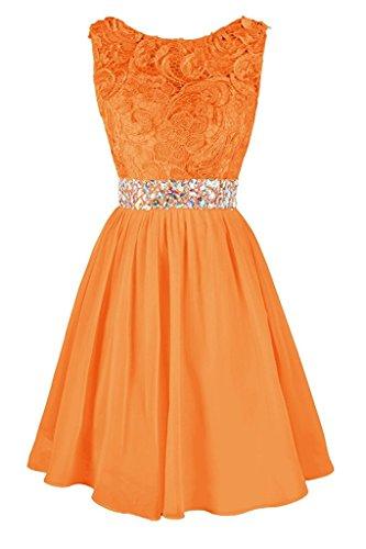 Ivydressing Abendkleider Steine Kurz Spitze Ballkleider Orange Brautjungfernkleid Damen Hochwertig rRwTq7rt