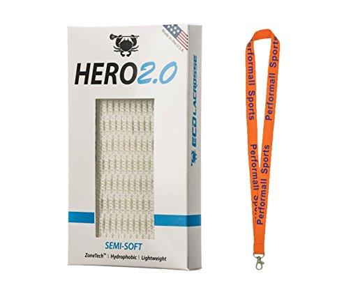 ECD Lacrosse East Coast Dyes Hero Mesh 2.0 Hero2.0 Semi-Soft Lacrosse Mesh Bundle with 1 Performall Lanyard