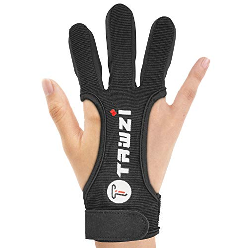 JKER TECH Archery Gloves Shooting Hunting Leather Three Finger Protector for Youth Adult - L
