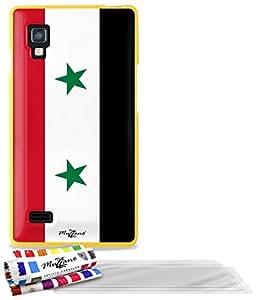 """Carcasa Flexible Ultra-Slim LG L9 de exclusivo motivo [Bandera Siria] [Amarillo] de MUZZANO  + 3 Pelliculas de Pantalla """"UltraClear"""" + ESTILETE y PAÑO MUZZANO REGALADOS - La Protección Antigolpes ULTIMA, ELEGANTE Y DURADERA para su LG L9"""