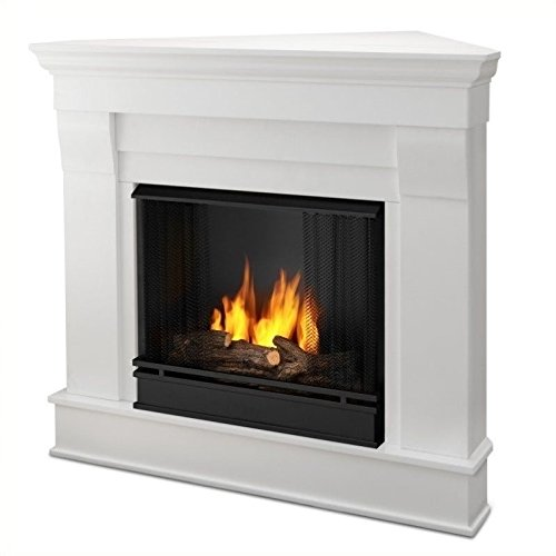 el Corner Fireplace in White Finish (Classic Stone Fireplace Mantel)
