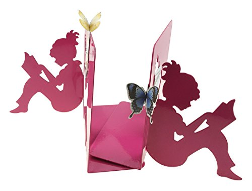 3D Rose Red Paper-cut Little Girl Is Reading Pattern Metal Bookends With 2 Butterfly Flower Bookmarks For Kids Teenagers Teachers Students Study Home School Library Office Decoration Birthday Gift (House Bookends Bookends)