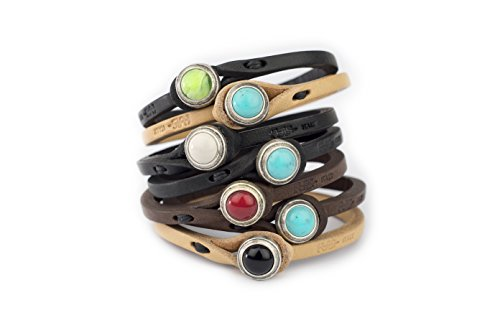 Genuine Italian Leather Bracelet in Multiple Color Combinations | Stone Closure | Handcrafted in Italy (Black with White Stone, 19 inches) from Tulsi