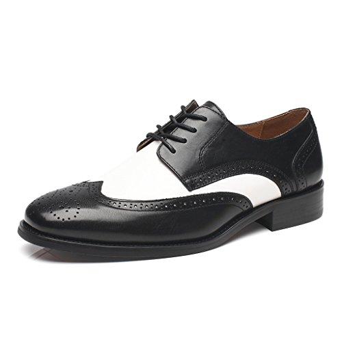La Milano Mens Oxfords Classique Moderne Captoe Ronde Deux Tons Chaussures Toubo-2-noir / Blanc