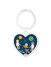 Heart Keychain Astronauts Planets Moon Space