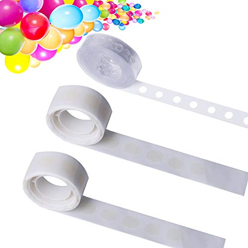 LOCOLO 75 Ft Garland Decorating Strip Tape, 200 PCS Reusable Balloon Glue Point, Balloon Arch Garland Decorating Strip Kit, Easy to Make Balloon Arch Garland Wedding and Party Decorations (3 Rolls)