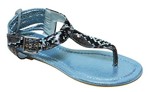 Blue Bolaro buckled Womens with sandal snake strap thong strap ankle T DF1081 qPw47