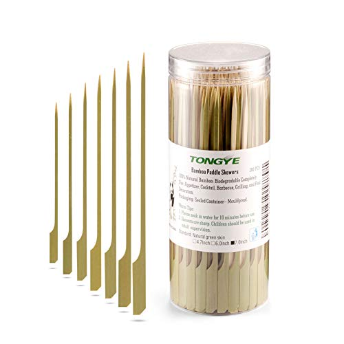 (TONGYE Bamboo Paddle Skewers 7 Inch, Food Grade Appetizer and Cocktail Picks, Wooden Barbecue/BBQ, Fruit, Sausage, Burger, Kabob Sticks for Party, Grilling. (200PCS Green)