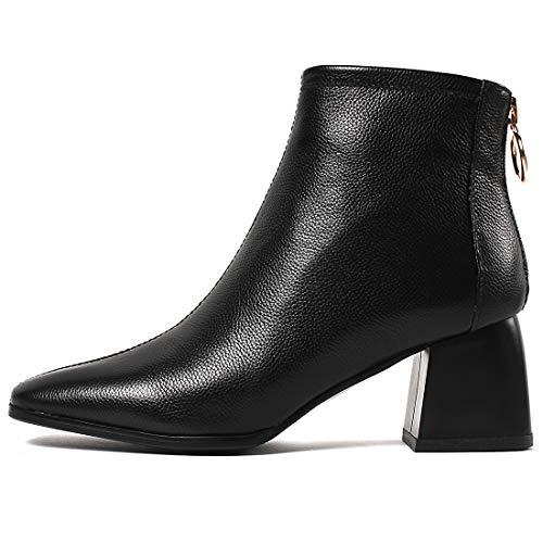 a a 5 5 Jushee 6cm Tacco Tacco Tacco CM Donna Blocco Leather Cerniera Stivali Juallow Nero57 xwROY6