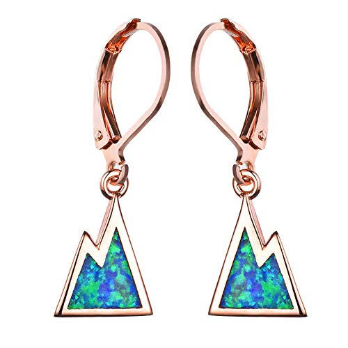 B&H-ERX Blue Fire Opal Triangle Dinner Hoop Earrings Fashion Jewelry,925 Sterling Silver Hypoallergenic Platinum/Rose Gold Plated High Polishing Drop Earrings Jewelry,C