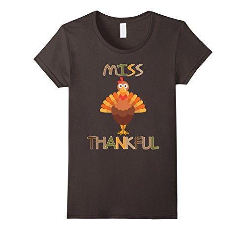 [Women's Thanksgiving Miss Thankful T-Shirt Turkey Girls Costume Medium Asphalt] (Women Turkey Costume)