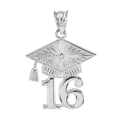 925 Sterling Silver Diploma 2016 Graduation Cap Charm Pendant (Pendant Graduation Charm)