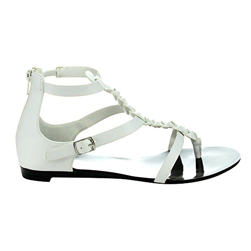 5 Flat C Womens Strap FLATTY Sandals 6 WHITE Slingback Thong LABEL Heel T EnF6q