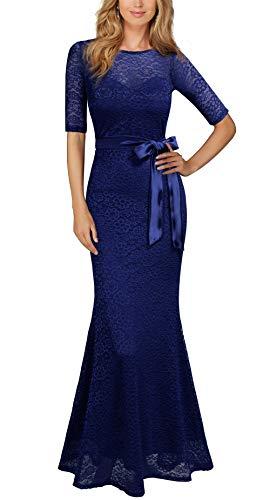 REPHYLLIS Women's Retro Floral Lace Vintage Wedding Maxi Bridesmaid Long Dress(XXL,Blue)