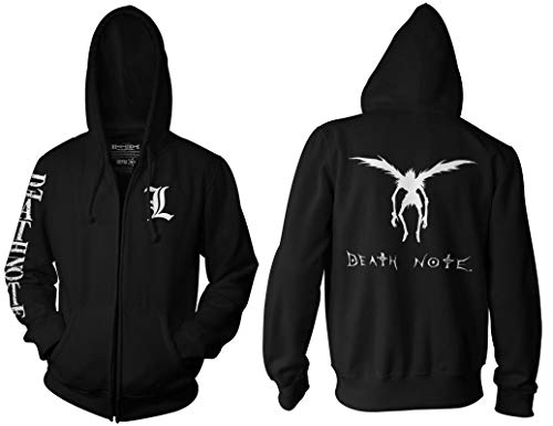 Ripple Junction Death Note Adult Unisex L Chest Logo Sleeve Full Zip Fleece Hoodie SM Black (Best Anime Like Death Note)
