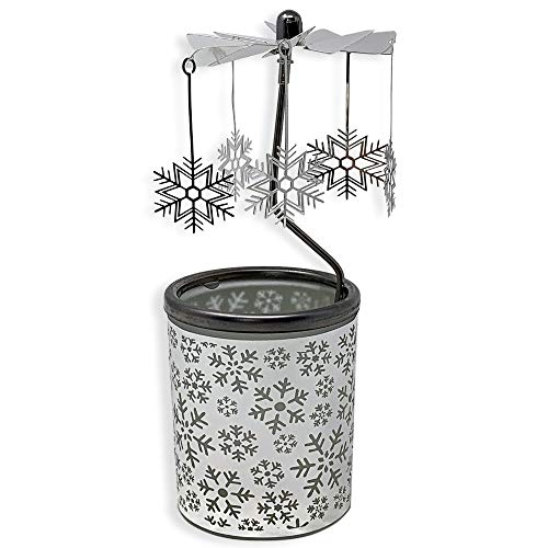 BANBERRY DESIGNS Spinning Snowflakes Candle Holder with Frosted Glass Scandinavian Design -