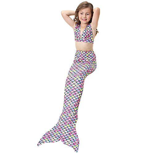 Lonchee Girl's 3pcs Mermaid Tail Swimmable Princess Bikini Set [ V tie style ] Costume Swimsuit Can Match Monofin for Swimming cospay